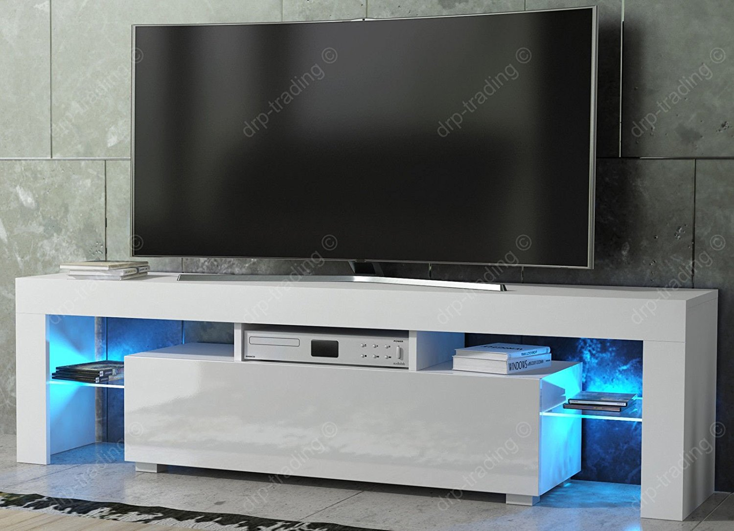 Hot Modern Por White High Gloss Lcd Mdf Tv Stand