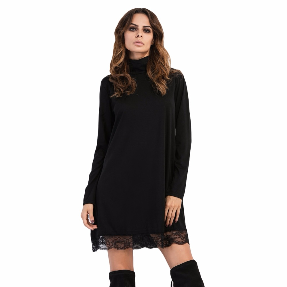 Fashion Women High Neck Dress Lace Trim Long Sleeves Casual Party Clubwear Mini Dress Black
