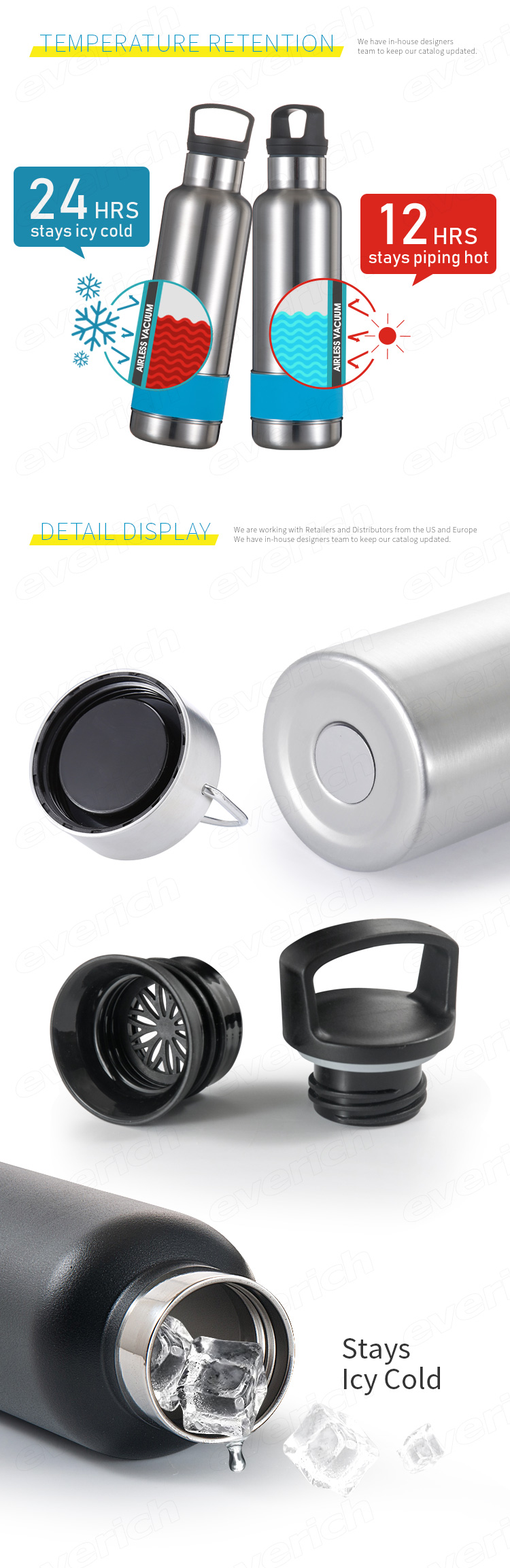 Double Wall Vacuum Stainless Steel Insulated Olahraga Air Minum Botol Botol Air Sepeda