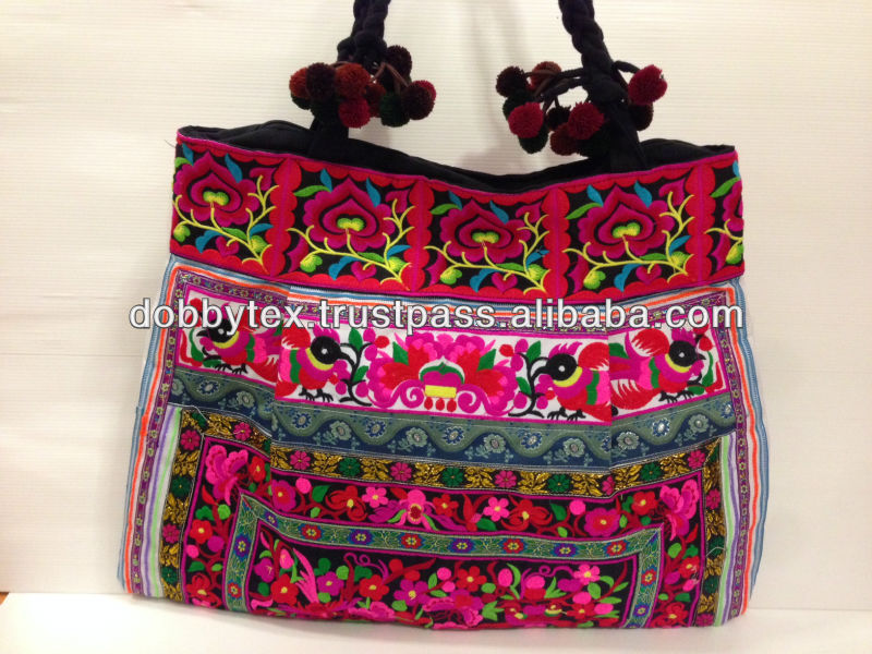 Thai embroidery Hmong tribe ethnic bag Biggest size with PONPONS strap