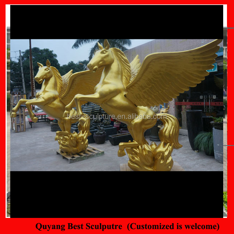 Large Size Fiberglass Cheap Horse with Wing Statue Outdoor Resin Sculpture