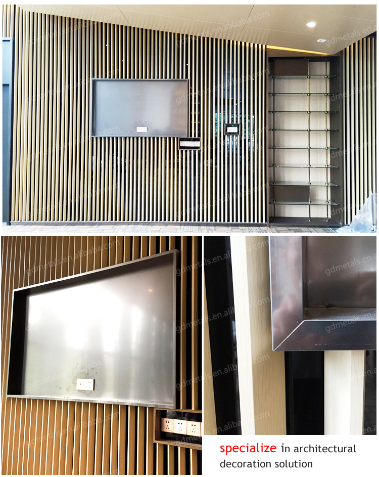 Custom home and hotel Stainless steel decoration framed for TV background wall