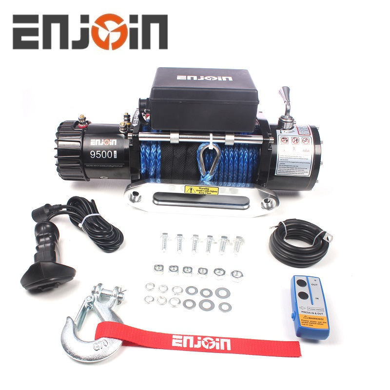 9500lbs 12 V 4x4 off road tời cho dây điện với winch cable rope tổng hợp/wire rope winch cable
