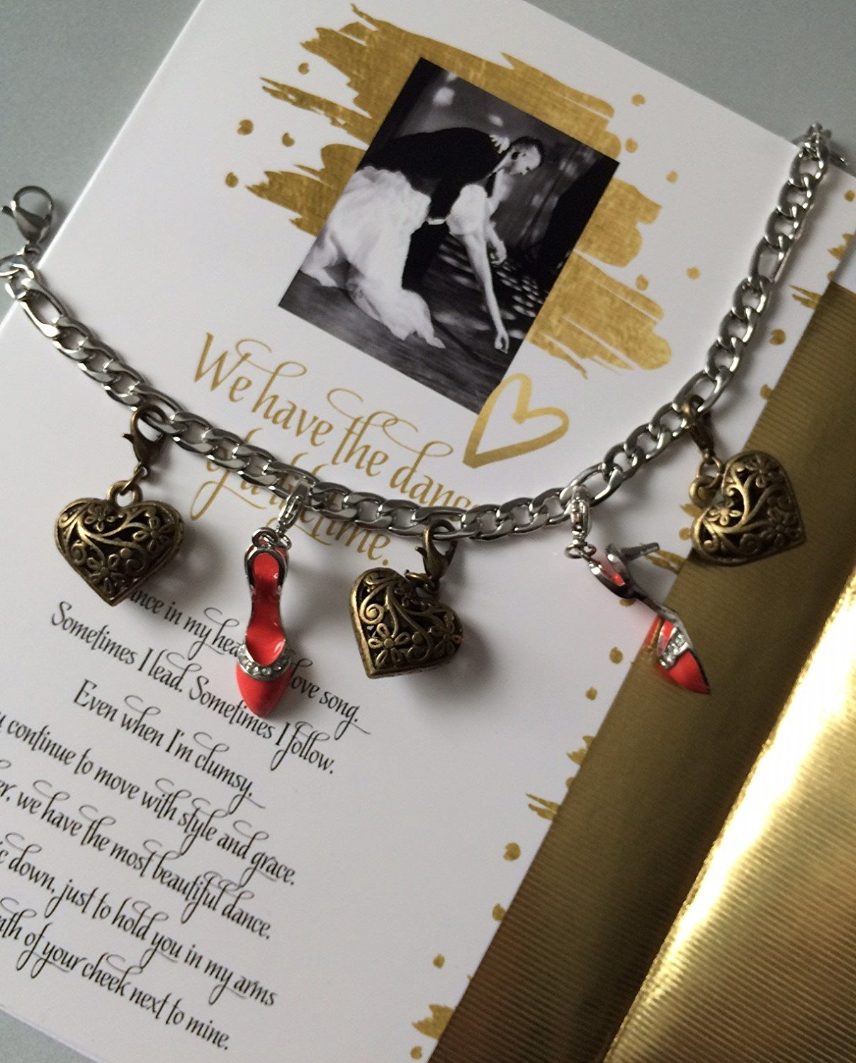 Smiling Wisdom - CLOSE OUT - Dance of a Lifetime Love Letter Gift Set - Red Dance Shoe Key Ring Chain & Charm Bracelet - Greeting Card - Anniversary Gift for Wife, Fiance, Girlfriend,