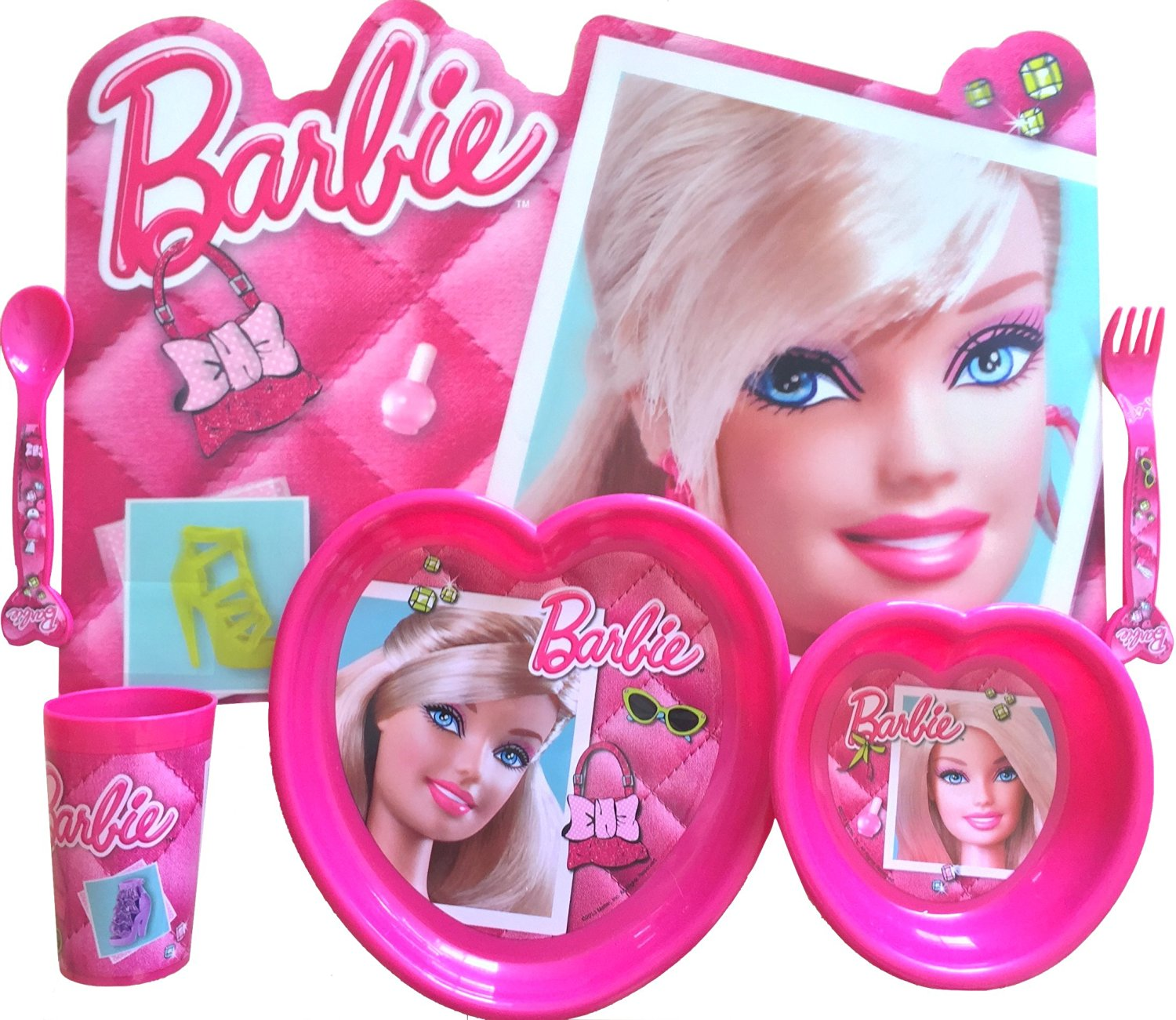 Get Quotations · Barbie Lunch 6 Piece Gift Set Includes Barbie Placemat,  Barbie Flatware Set, Barbie Bowl