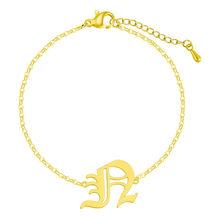 Браслет из нержавеющей стали с буквенным алфавитом для женщин, многоцветный старинный английский A-Z, подарок, очаровательный подарок(Китай)