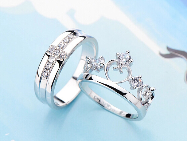 New Design Silver Jewelry King And Queen Crown Zircon Wedding Ring Set