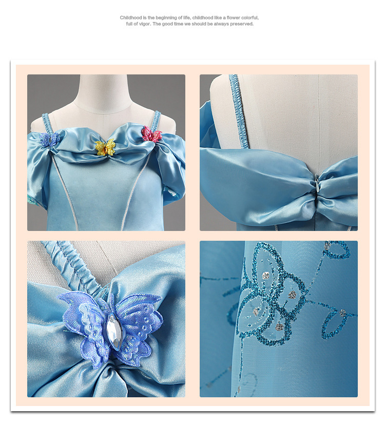 Kids Girl Realistic Cinderella Dress For Halloween Costume ...