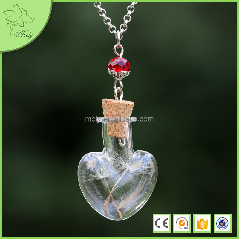 New Design Mini glass Bottle Dandelion Heart Pendant Necklace Jewellery
