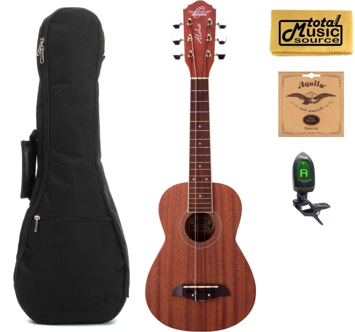 Oscar Schmidt OU26T 6-String Tenor Ukulele, Mahogany Body, Satin Finish, Includes TMS Polishing Cloth, Padded Gig Bag, Profile Digital Clip-On Tuner and Extra Set of Aquila 17U Strings
