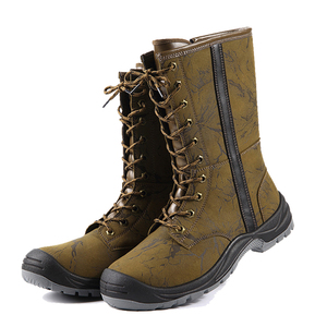 86bc8c65b7ba High cut brown side zipper work boots steel toe safety shoes
