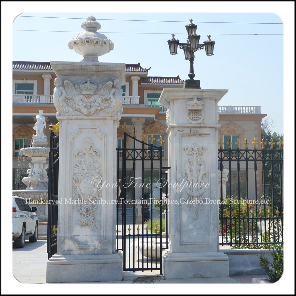 Yellow roman pillar design decoration marble gate pillar column