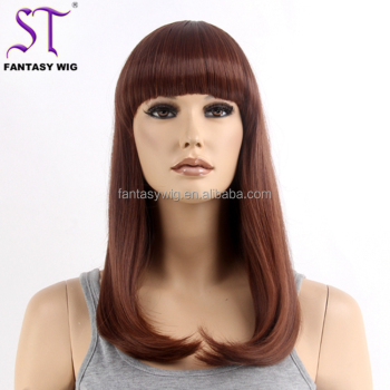 Wig Wholesale Distributors Cheap Sale 18inch Brown Synthetic Hair Long Straight Wig For Women