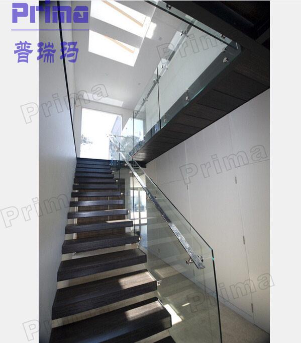 Glass Stair Rail Hardware / Frameless Veranda Glass Railings For Stairs  PR B1082