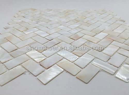 Madre de pearl oyster espiga shell mosaico de azulejos for Mosaico para bano precios