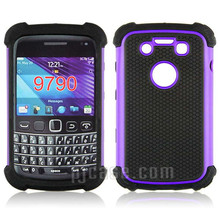 Rugged football textured phone cover for blackberry bold 9790 , pc + tpu hard case for blackberry bold 9790