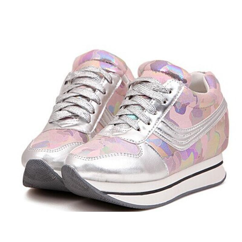 011ec7aecf72 Get Quotations · Women Sneakers Platform Shoes Plus Size35-39 Pink Black  White Canvas Pink Black White Increasing