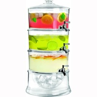 Clear Durable Acrylic Stackable 3-Gallon Beverage Serve Chilled Dispenser With 3-Tier Ice Chamber Base & Cooling Shafts
