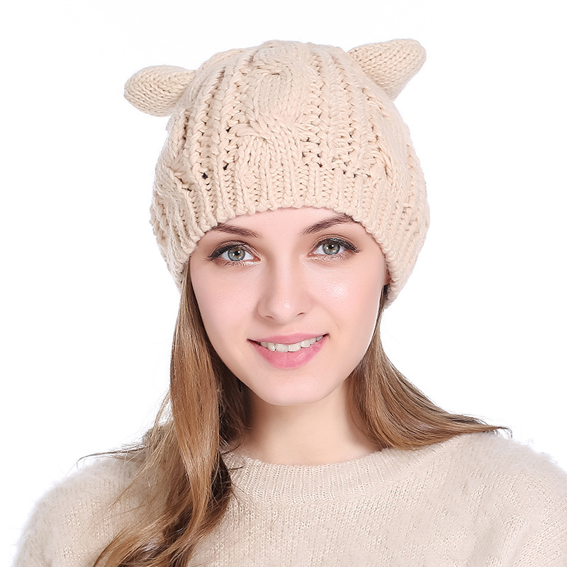 Fashionable Cat ear Wool yarn Hat Knitted Hat Lady Beret Elastic Hat