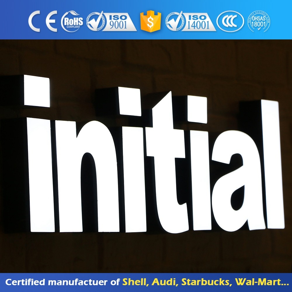 Acrylic Illuminated Channel Letter Signage Adverting 3D Mirror Surface Stainless Steel Customized Frontlit Led Sign Wholesale