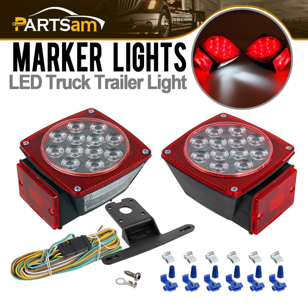 Cheap Wiring Boat Trailer Find Deals On Line At Led Get Quotations Submersible Clear Lens Square Taillight Universal Under 80 Light With