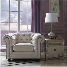French Versailles Palace Replica Furniture, Vintage Upholstered Single Sofa, Genuine Leather Chesterfield Sofa Couch
