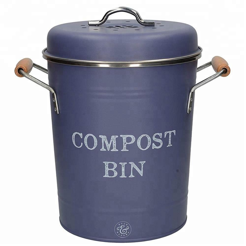 Vintage Style Metal Kitchen Compost Bin