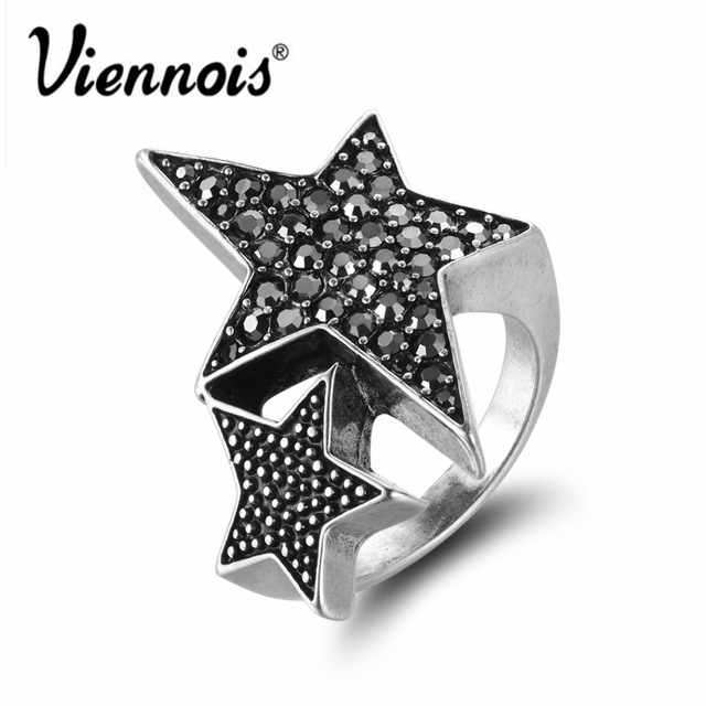New Viennois Silver Color Full Star for Woman Trendy Rhinestone Party Rings Fashion Birthday Gift