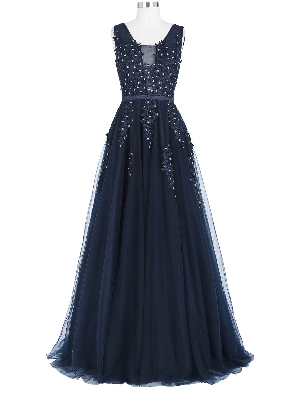 Grace Karin Elegant Deep V-Back Soft Tulle Netting Sleeveless Long Navy Blue Evening Dress 8 Size US 2~16 GK000130-1