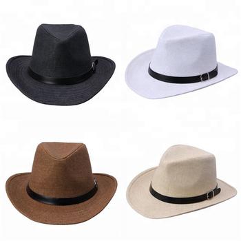 Fashion pria lebar penuh jazz pria topi tenun jerami topi koboi barat panama 4c7524841f