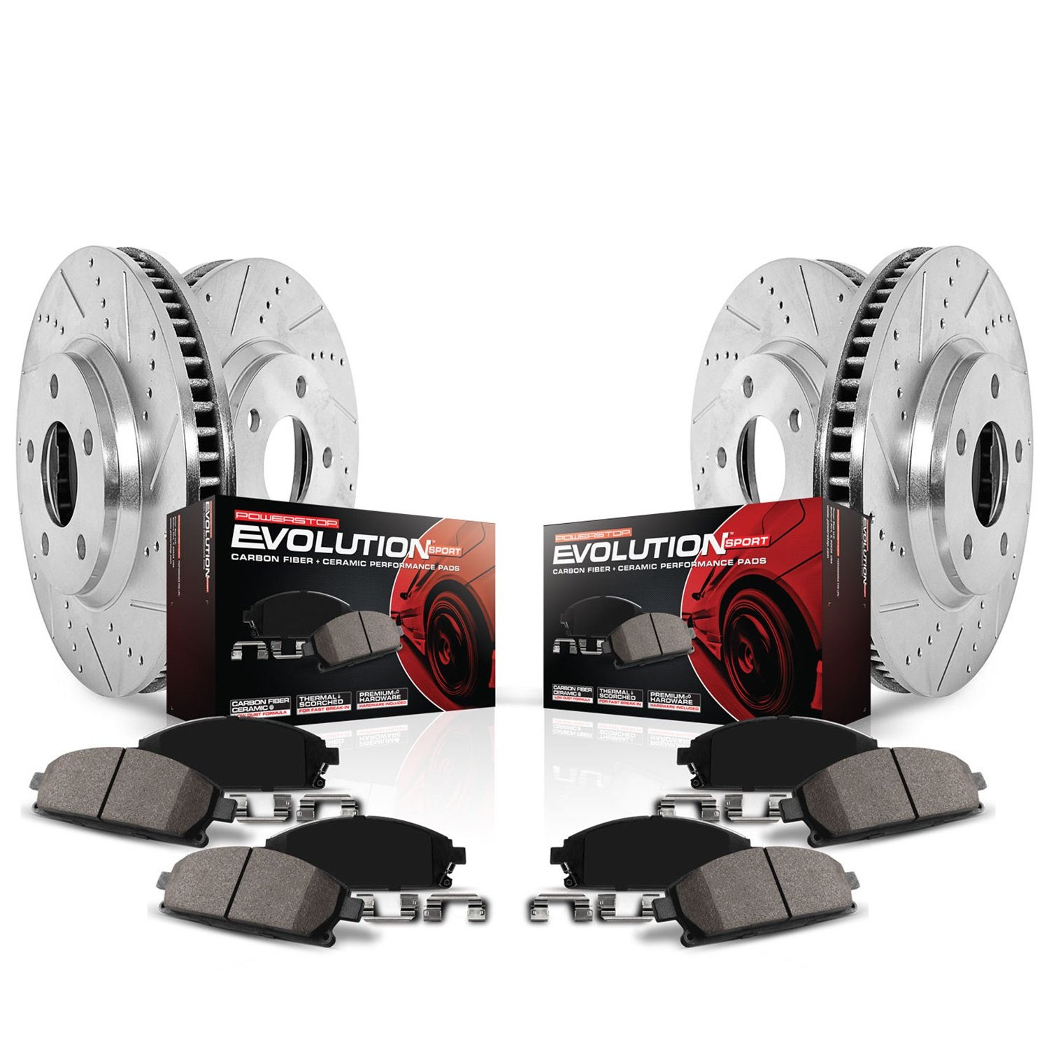 Power Stop K6504 Front and Rear Z23 Evolution Brake Kit with Drilled/Slotted Rotors and Ceramic Brake Pads