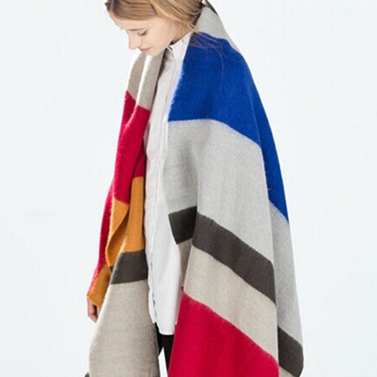 2015 Autumn Winter Brand Designer Style Fashion Colorful Striped Women Scarf Cashmere Wool Size 140*140cm Ladies Scarves Shawl