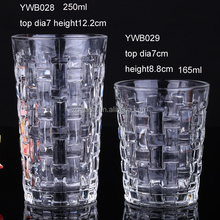 165ml 250ml Promtional Cheap Machine Made Weave Knit Emboss Whiskey Glasses