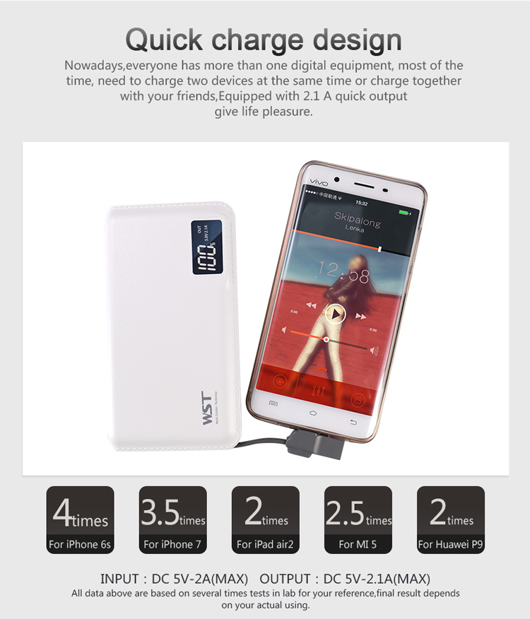 Consumer electronics 5v 2.1a LCD display portable mobile power bank 10000 mah