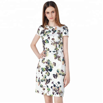 ed3f0e912e1 Printed Dress with Sleeves One Piece Ladies Short A Line Elegant Casual  Summer Maxi Online Casual