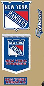 """New York Rangers FATHEAD Set of 3 Team Logo Banner Official NHL Vinyl Wall Graphic 6"""" INCH"""