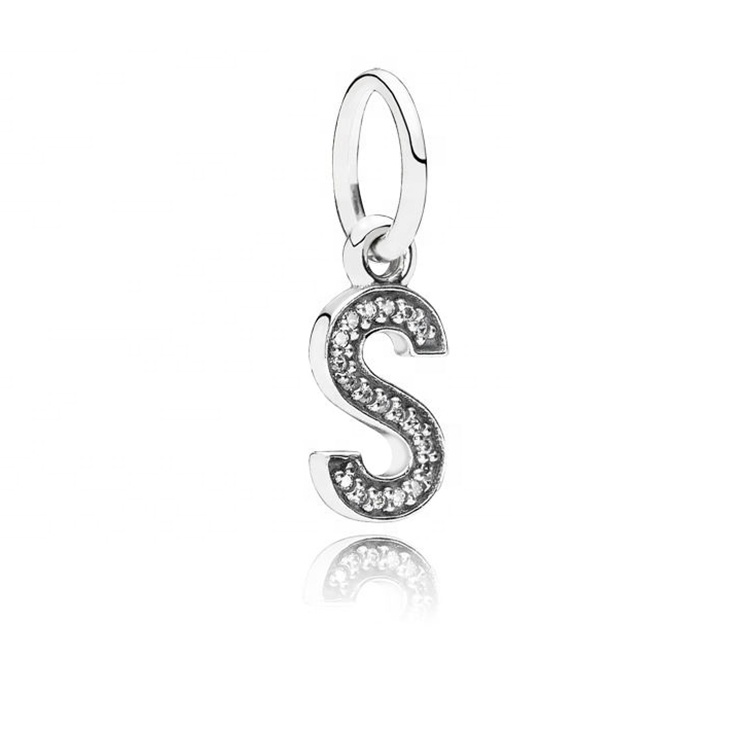 wholesale fashion 925 sterling silver charms S letter pendant bead for jewelry making