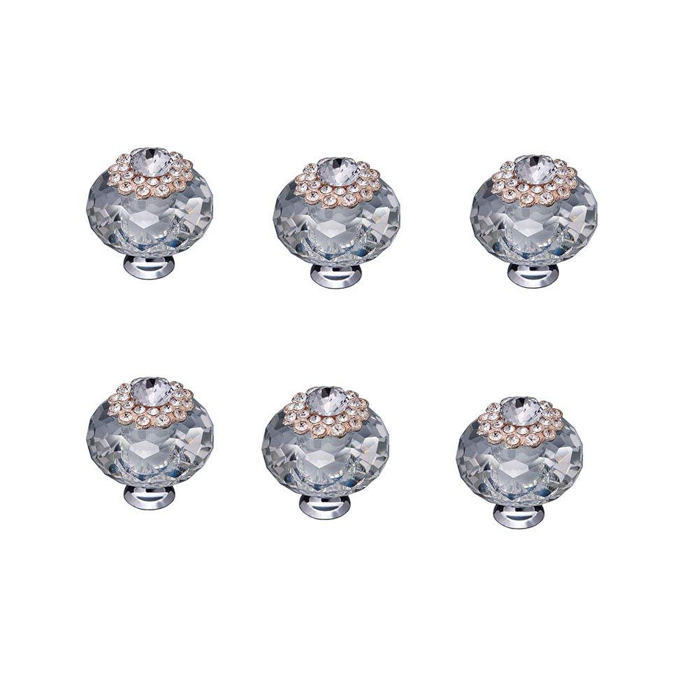 Buy Vintage Clear Oval Glass Cabinet Knobs (6) Kitchen ...