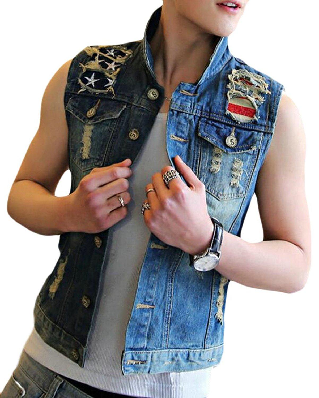 7f9917293b04c Get Quotations · Fensajomon Men Button Retro American Flag Sleeveless Denim  Vest Sleeveless Jean Jacket Gilet