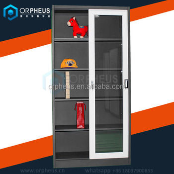 sliding door office cupboard. double sliding door steel cupboard design multiple layers glass office with shelves