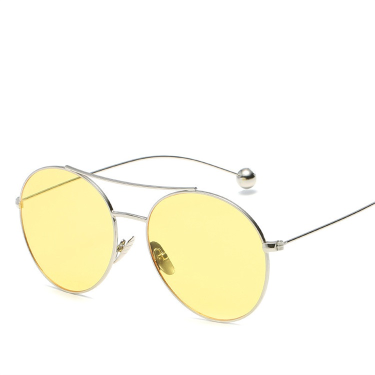 Alibaba Best Selling Design Yellow Lens Fashion Round Sunglasses Women