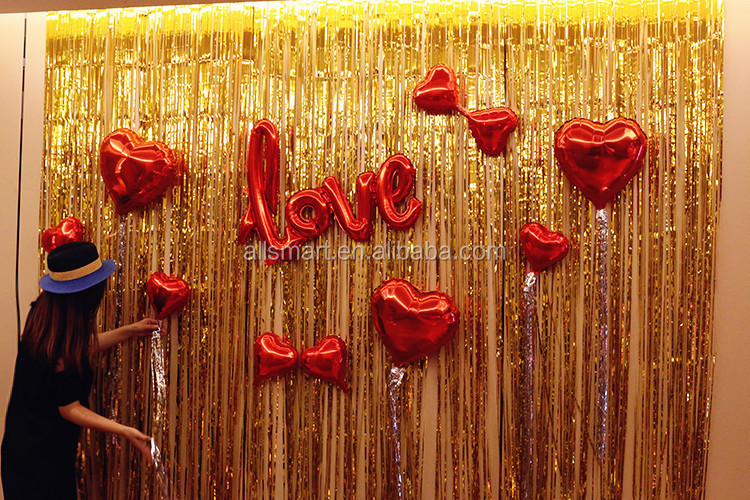100cmx200cm Matt Metallic Tinsel Foil Fringe Curtains Photo Backdrop for Party Birthday Decor