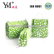 2014 Hot sale green round dots wholesale cosmetic clear plastic bags