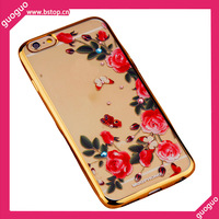 Hot Selling TPU Cell Phone Case for iPhone6 Rose Flower Bling