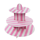 Disposable fda good grade pink 3 layer cake tools wholesale paper pop display cake stands