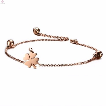 0388ff56fa5dc Four Leaf Clover Charms Rose Gold Pendant Hotwife Bracelet Ankle With Bells  - Buy Pendant Hotwife Anklet,Four Leaf Clover Charms,Ankle Bracelet With ...