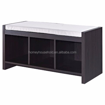 3 Cubic Storage Shelves Shoe Cabinet Unit Espresso Entryway Bench Cushioned Product On Alibaba