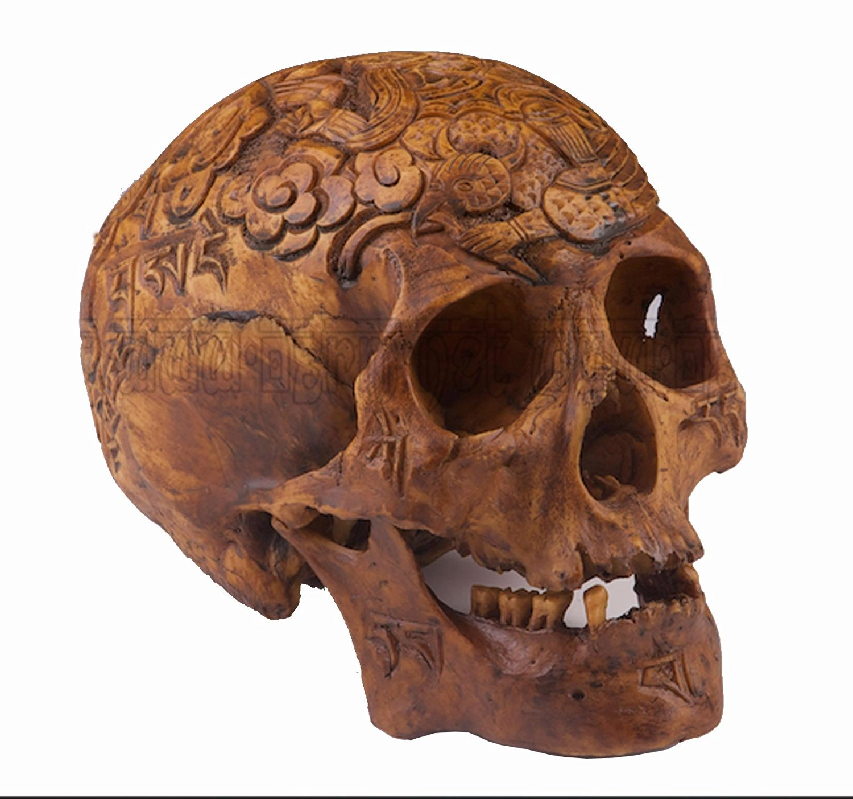 Fine Handmade Resin Replica 1:1 Kapala Carved Human Skull Tibetan Buddhism Scriptures Tai Chi Clouds Monster OD07