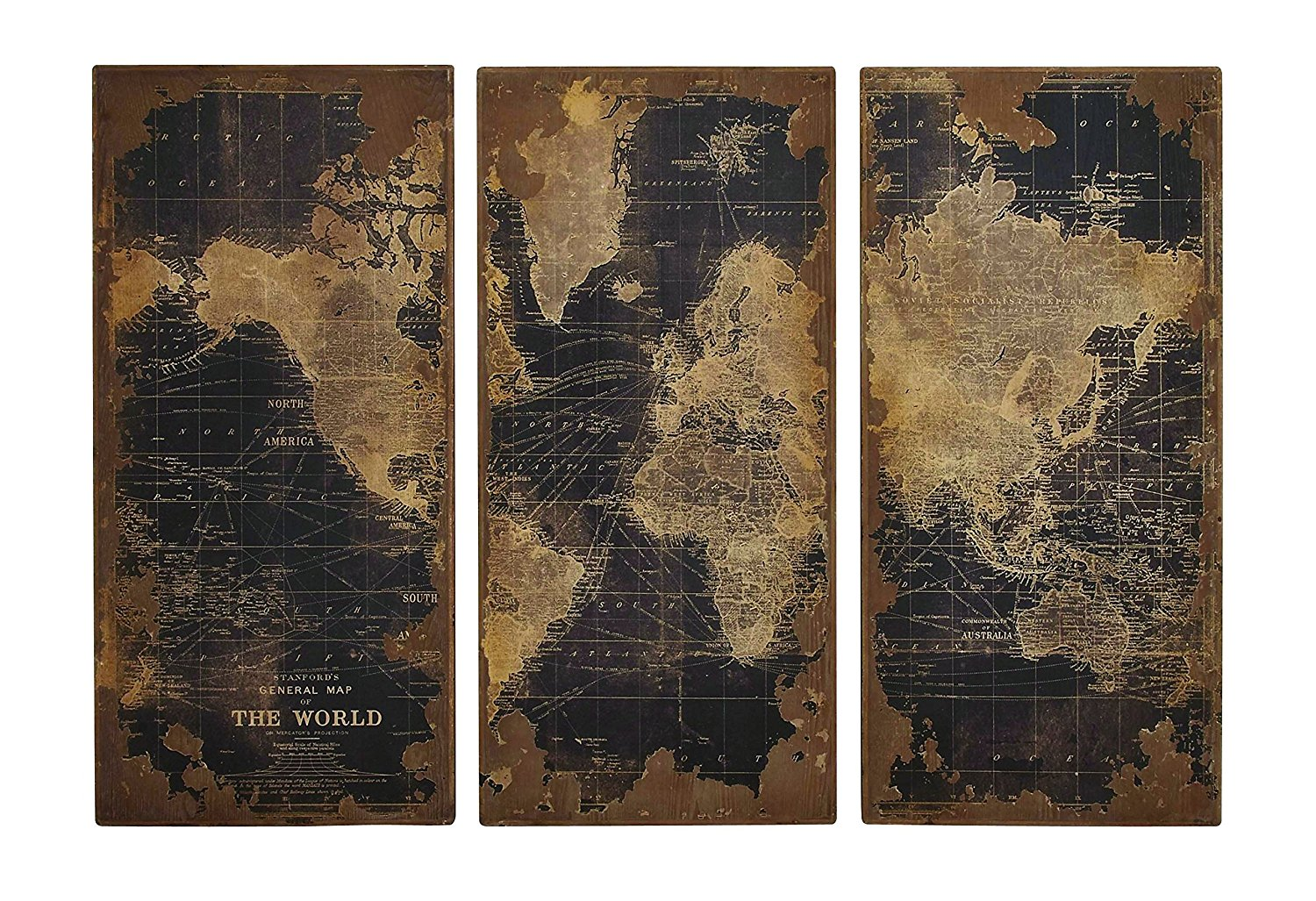 Buy Woodland 14800 Assorted Map Wood Wall Panels Set Of Three In