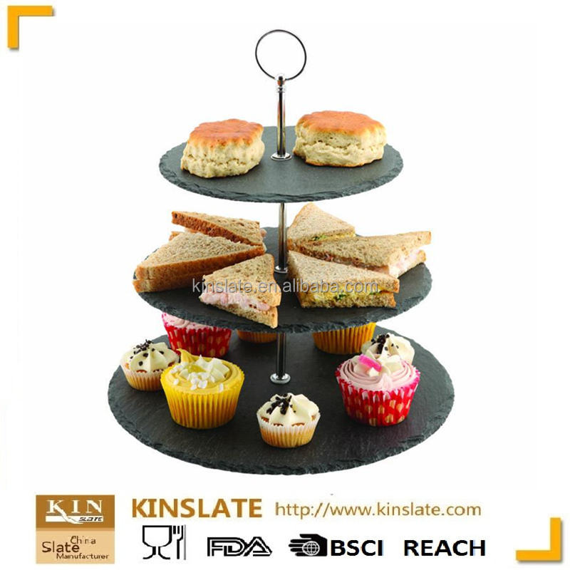 Banquet cake serving Kinslate 3 Tier Slate cake stand with etched logo